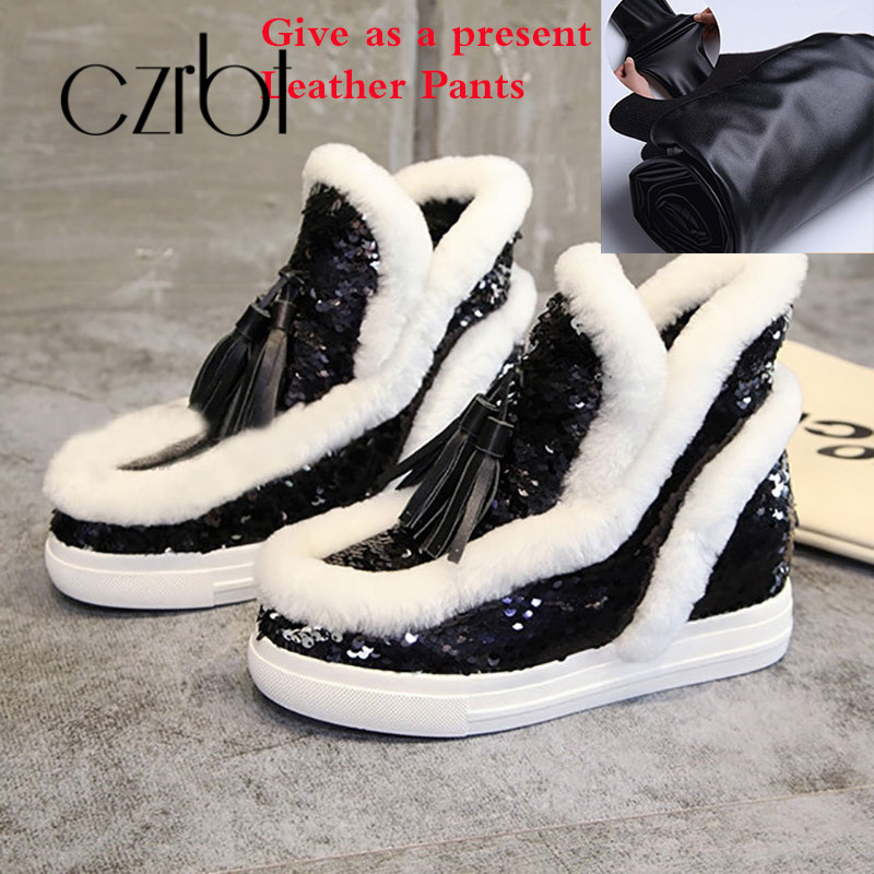 czrbt 2018 New Winter Shoes Women Bling Keep Warm Snow Boots Giving Leather Pants Fashion Casual Non-Slip Ankle Boots For Women