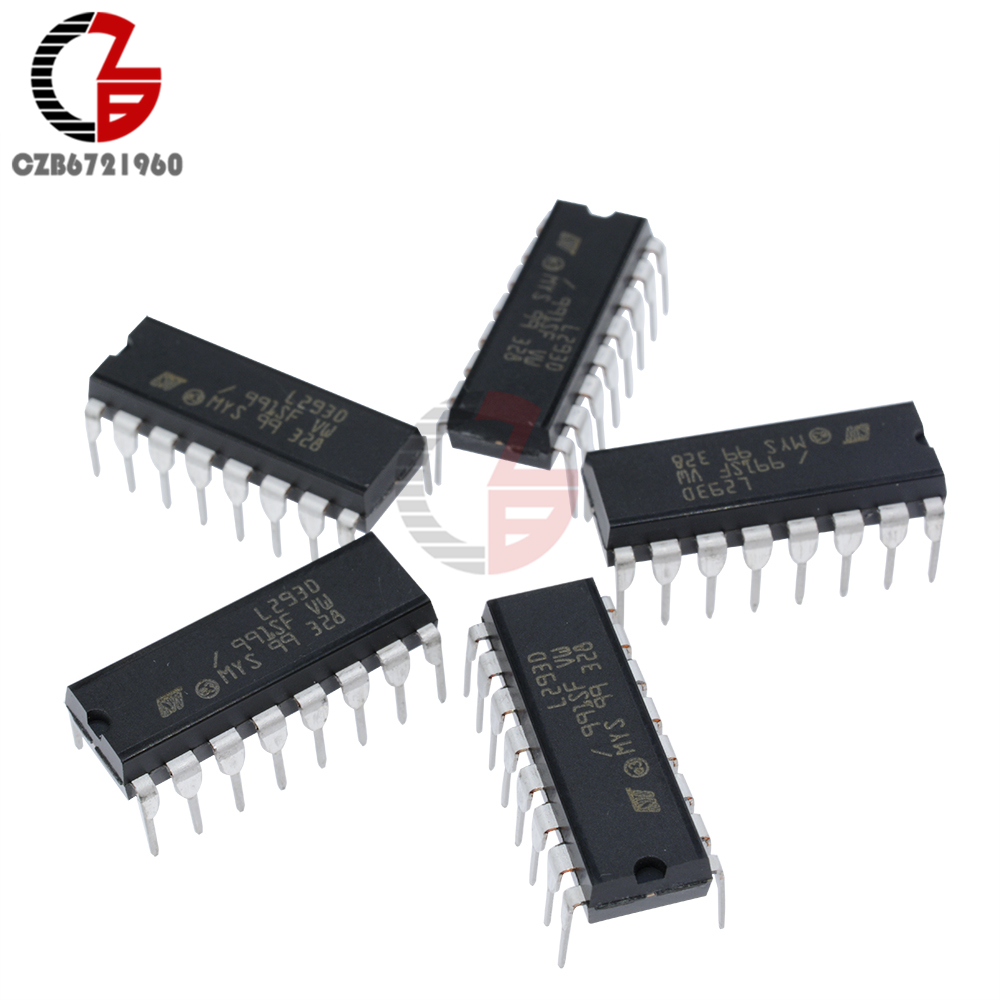 5Pcs Push-Pull four-channel motor driver IC ST L293D L293 DIP16 e~GWL