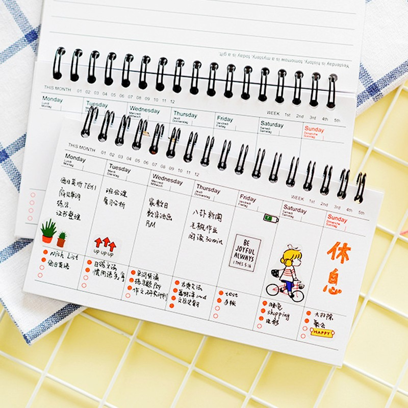 100 Pages 97*161 cm Cute PVC Spiral Daily Weekly Project Planner