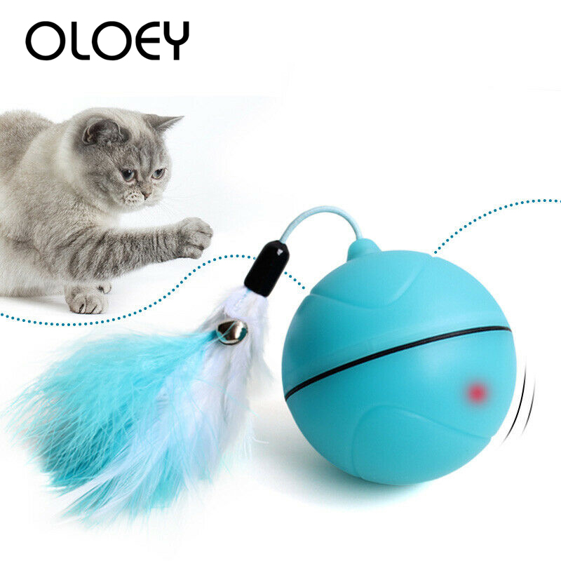 New USB Rechargeable Electric Rolling Ball Toys for Cats Interactive Laser Magic Ball Toy with Laser