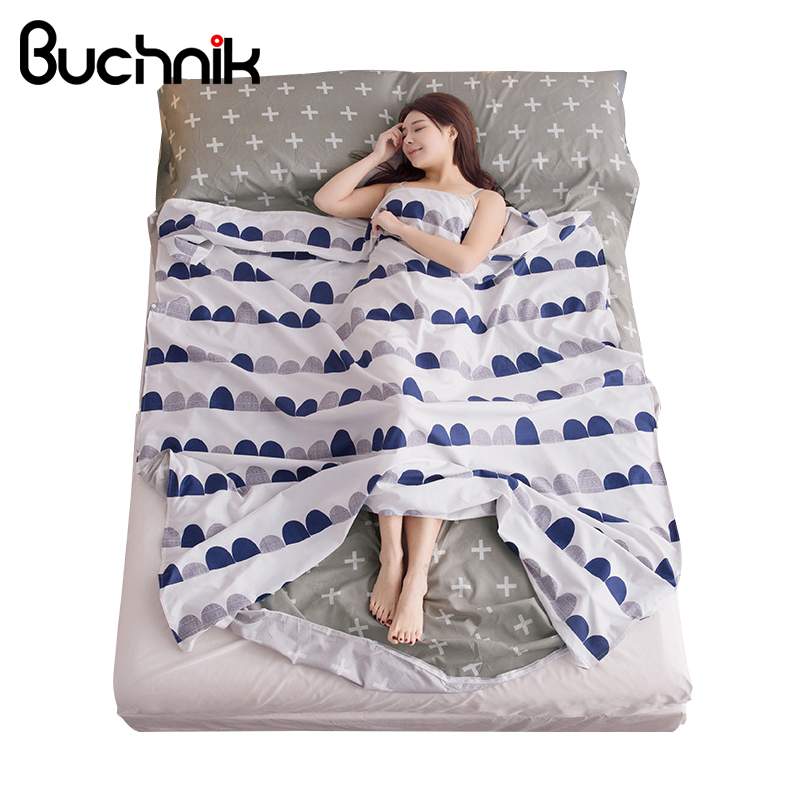 BUCHNIK Travel Polyester Fitted Sheet Printing Sleeping Trip Essentials Bag Bed Sheets Comfort Mattress Cover Accessories Item striped fitted sheet
