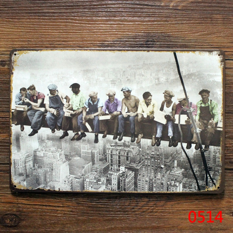 20x30cm Classic Photography Lunch Time at The Top of the Skyscraper metal poster Tin sign plate wall decoration