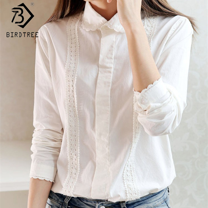 White Blouse Women Work Wear Button Up Lace Turn Down Collar Long Sleeve Cotton Top Shirt Plus Size S-XXL blusas feminina T56302(China)