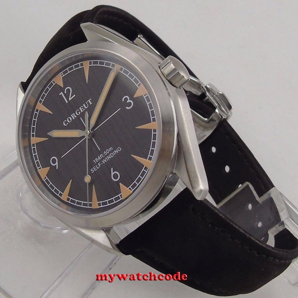 Szczotkowane 41mm corgeut czarna tarcza szafirowe szkło miyota 8215 automatyczny męski zegarek C130 w Zegarki mechaniczne od Zegarki na  Grupa 1