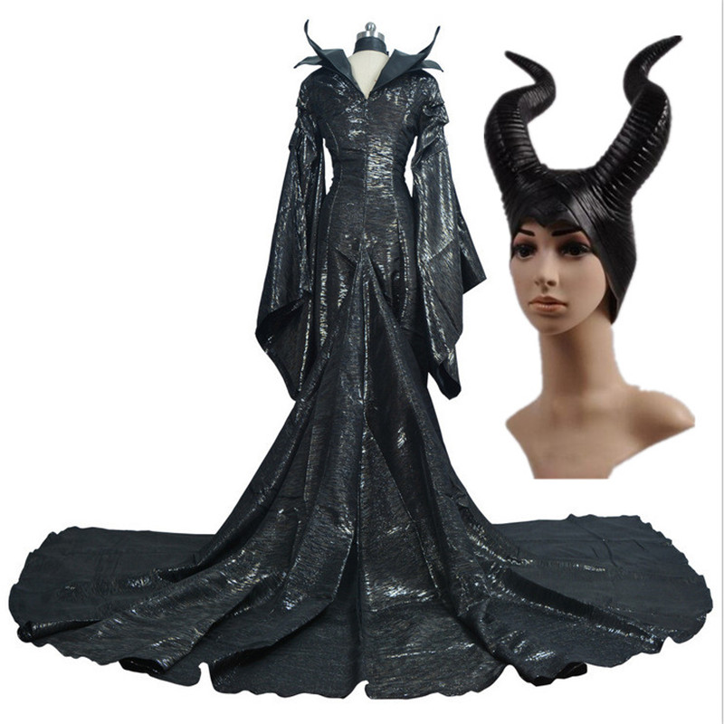 Ainiel sleeping beauty Dark Witch Maleficent  Cosplay Costume for Adult Maleficent Girl and Women Dress and Horns