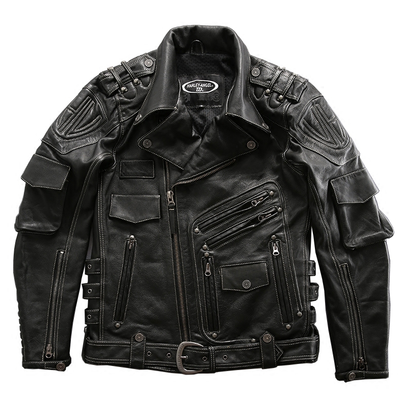 High Quality Super Genuine Cow Leather Motor Rider Jacket Mens Super Cowhide Leather Jacket 98008