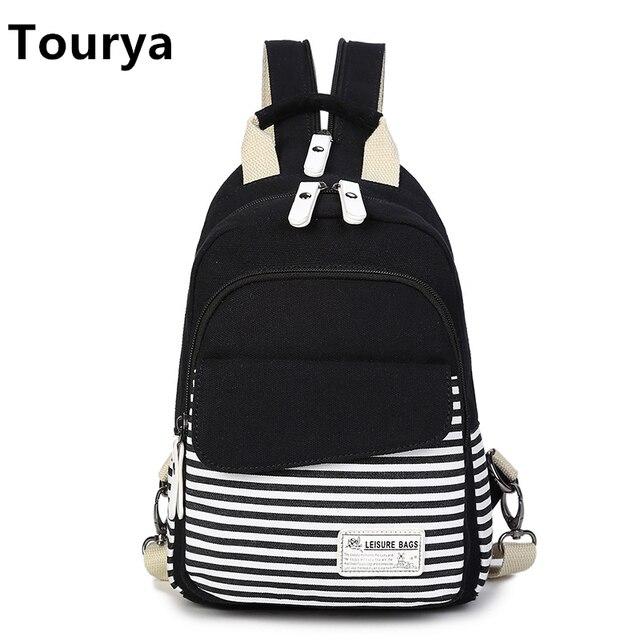 Tourya Fashion Canvas Women Shoulder Backpack Crossbody Bags for Teenagers  Girls Travel Bags Casual Shoulder Sling Bag Chest Bag cbafa6b46d84e