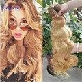 Brasileño de la virgen color del pelo 27 Onda Del Cuerpo 3 Bundle Ofertas Honey Blonde Extensiones de Cabello Humano marrón Claro armadura de la reina de belleza pelo