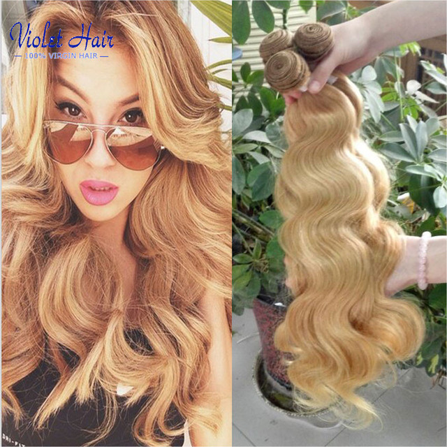Brazilian virgin hair color 27 Body Wave 3 Bundle Deals Honey Blonde Human Hair Extensions Light brown queen weave beauty hair