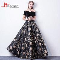 High Quality 2018 Black Velvet Printed Boat Neck Short Sleeves Formal Elegant Evening Prom Dresses Custom