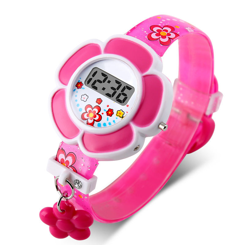 New Lovely Flower Cute Kids Watches Children LED Watches Cartoon Silicone Digital Wristwatch For Boys Girls