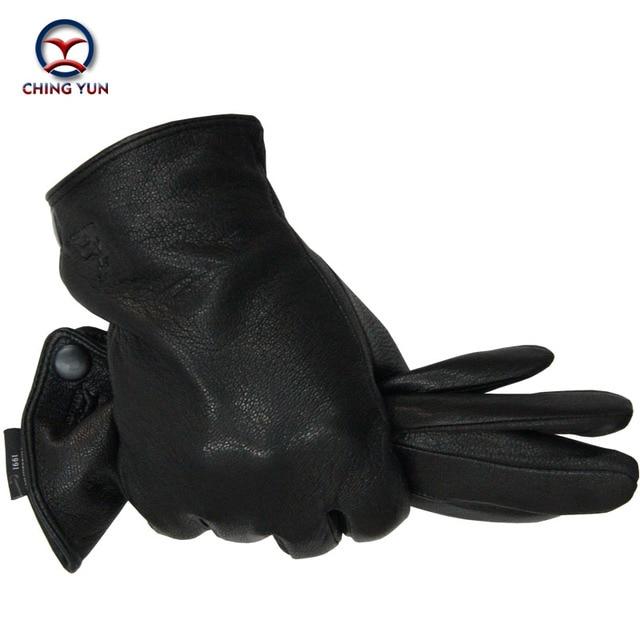 2016 Nuevo hombre Invierno guantes de cuero de piel de venado macho caliente suave guante de los hombres negro hombres mittens lining-04 imitar la piel del conejo 70% de lana