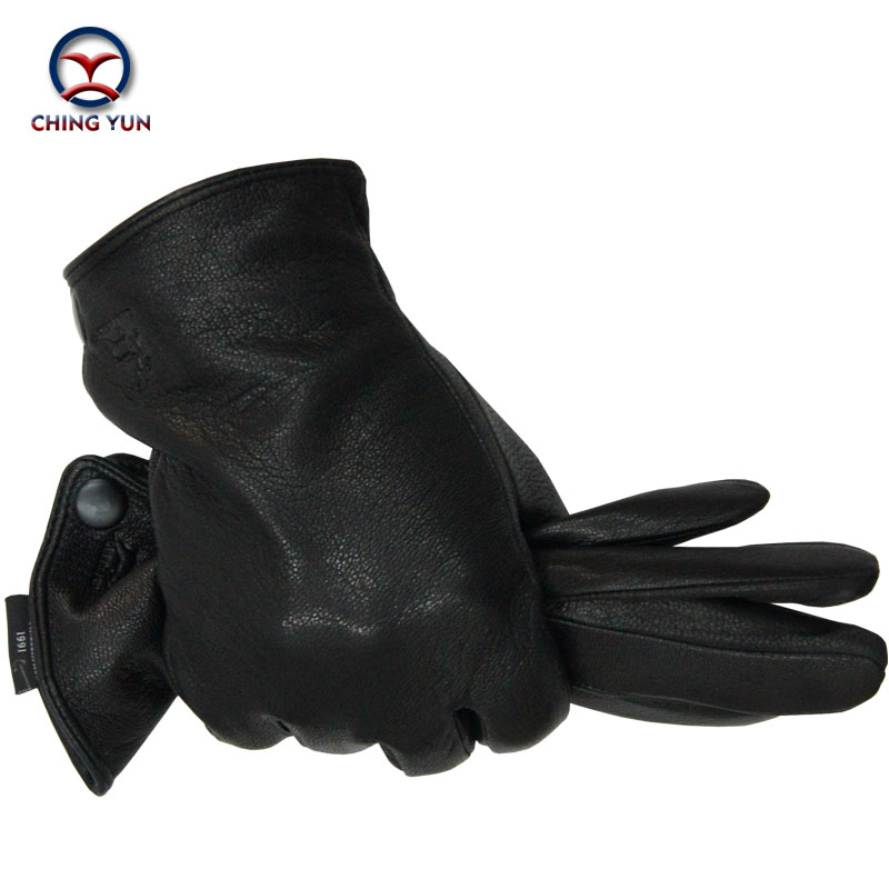 Winter Man Deer Skin Leather Gloves Male Warm Soft Men's Arm Sleeve Black Men Mittens Imitate Rabbit Fur 70% Wool Lining-04