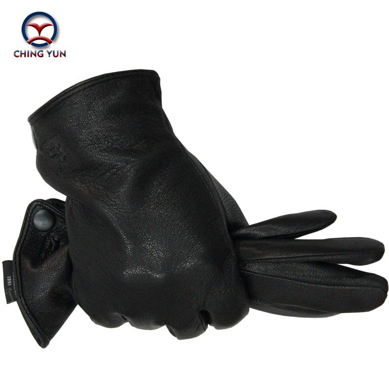 Winter Man Deer Skin Leather Gloves Male Warm Soft Men's Arm Sleeve Black Men Mittens Imitate Rabbit Fur 70% Wool Lining-04