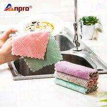 Anpro 1 шт. Супер Абсорбирующая салфетка из микрофибры для кухонной посуды двухсторонняя губка для мытья посуды домашнее полотенце для уборки