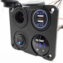 Переключатель ВКЛ/ВЫКЛ панель двойной USB зарядное устройство прикуривателя вольтметр для автомобиля лодки морской RV грузовик синий/зеленый/красный