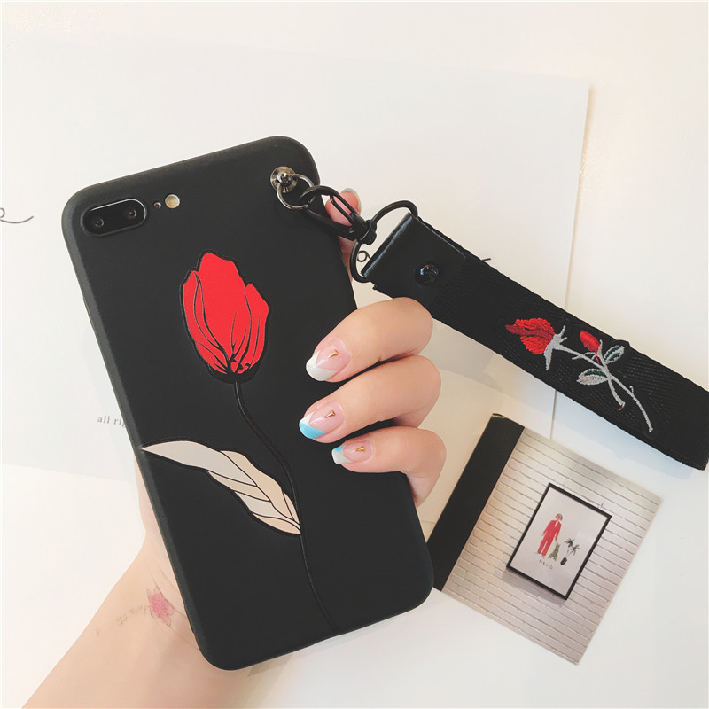 official photos dce8d d6f6f US $2.87 26% OFF|Retro 3D Rose embroidery Wrist strap phone cases for  iphone X XR XS XS Max Flower relief silicon Case for iphone 6 6s 7 8  plus-in ...