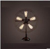 American nostalgic fan retro table lamp Nordic industrial wind living room coffee restaurant bedroom bedside bar CL