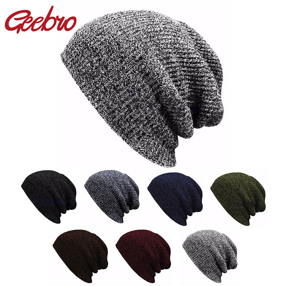 Geebro Women's Slouchy Winter Hip Hop Knitted Hat Warm Casual Acrylic Crochet Ski Beanie Hat Female Men Baggy Skullies Beanies