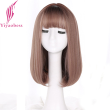Yiyaobess Korea Style Synthetic Medium Long Bob Wig With Bangs Dark Roots Ombre Hair Linen Grey Natural Straight Woman Wigs