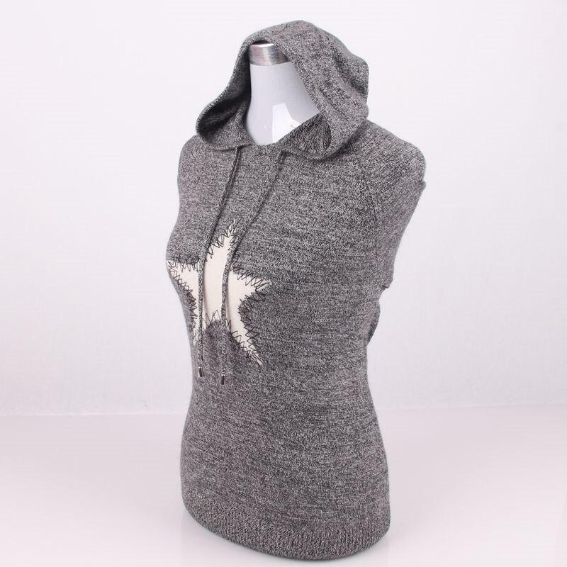 Grande taille 100% cachemire tricot femmes pulls à capuche de mode sweatshirts pull manteau H droite patchwork motif étoile S/90 5XL/125 - 3