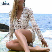 2018 Sexy Women Hollow Out Floral Lace Hook Crochet Beachwear Cover Ups Long Sleeve Deep V