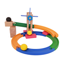 Childrens educational disassembly nut combination ball wooden roller coaster track building blocks toy