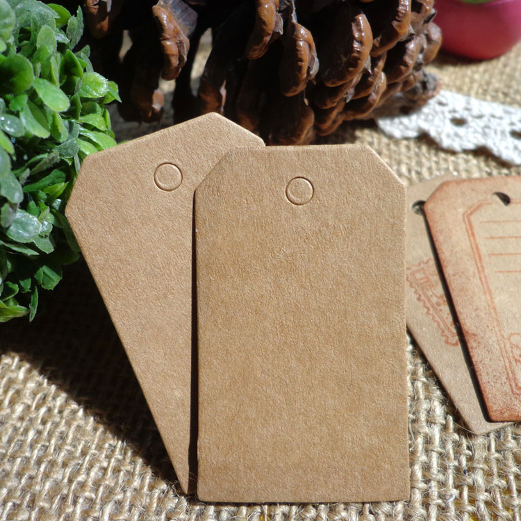 Free shipping 7x4 cm Cardboard Blank price Hang tag Retro Kraft Gift Hang tag 100pcs/lot