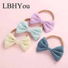 18pcs/lot Newborn Baby Soft Nylon Hair Accessories,Soild Bows Stretchy Headbands,One Size Fit All Girls Knot Bow Wear