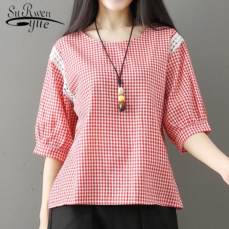 summer cotton linen women   blouse     shirt   fashion 2019 half sleeve plaid women tops loose Plus size women's clothing blusas D848 30