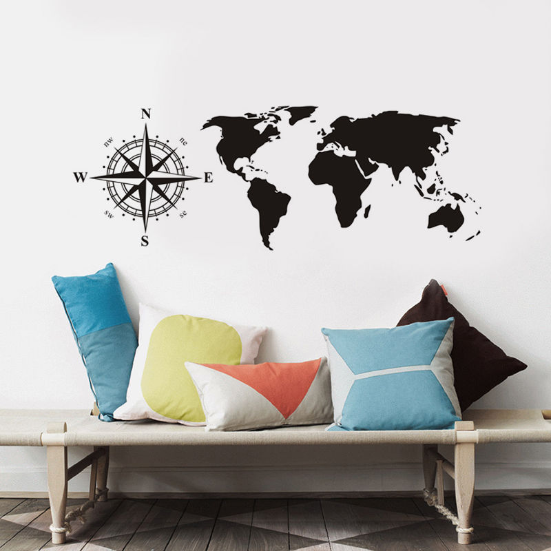 World Map Compass Vinyl Wall Stickers Home Living Room Removable Art ...