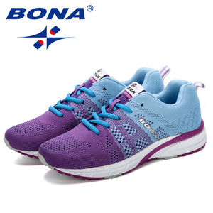 Image 4 - Bona novo tênis de corrida das mulheres tênis de corrida respirável malha rendas up treinamento ao ar livre sapatos de fitness esporte feminino