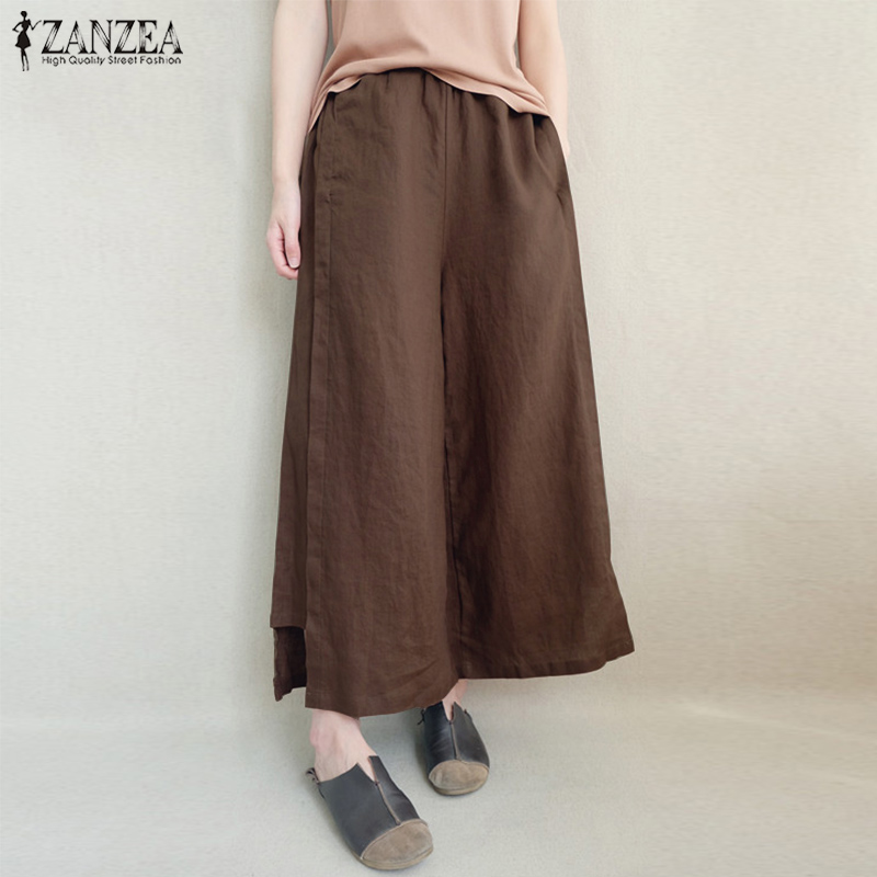 5XL 2018 ZANZEA Plus Size Women   Wide     Leg     Pants   Solid Casual Elastic Waist Cotton Linen Loose Pantalon Flare Trousers Streetwear