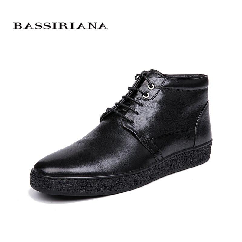 BASSIRIANA/зима 2018 классическая модель натуральная кожа Мужская зимняя обувь на шнуровке натуральный мех больших размеров 39-45 удобные шо