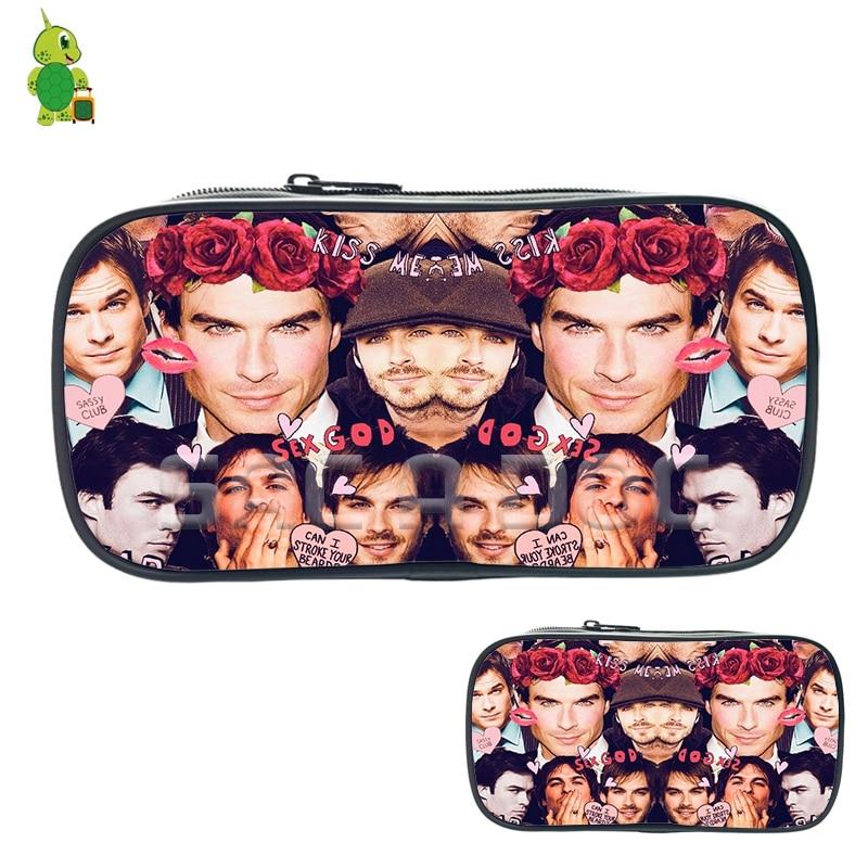 Vampire Diaries Ian Somerhalder Collage Cosmetic Bags Boys Girls Children Pencil Case Purse Women Men Fashion Large Storage Bags