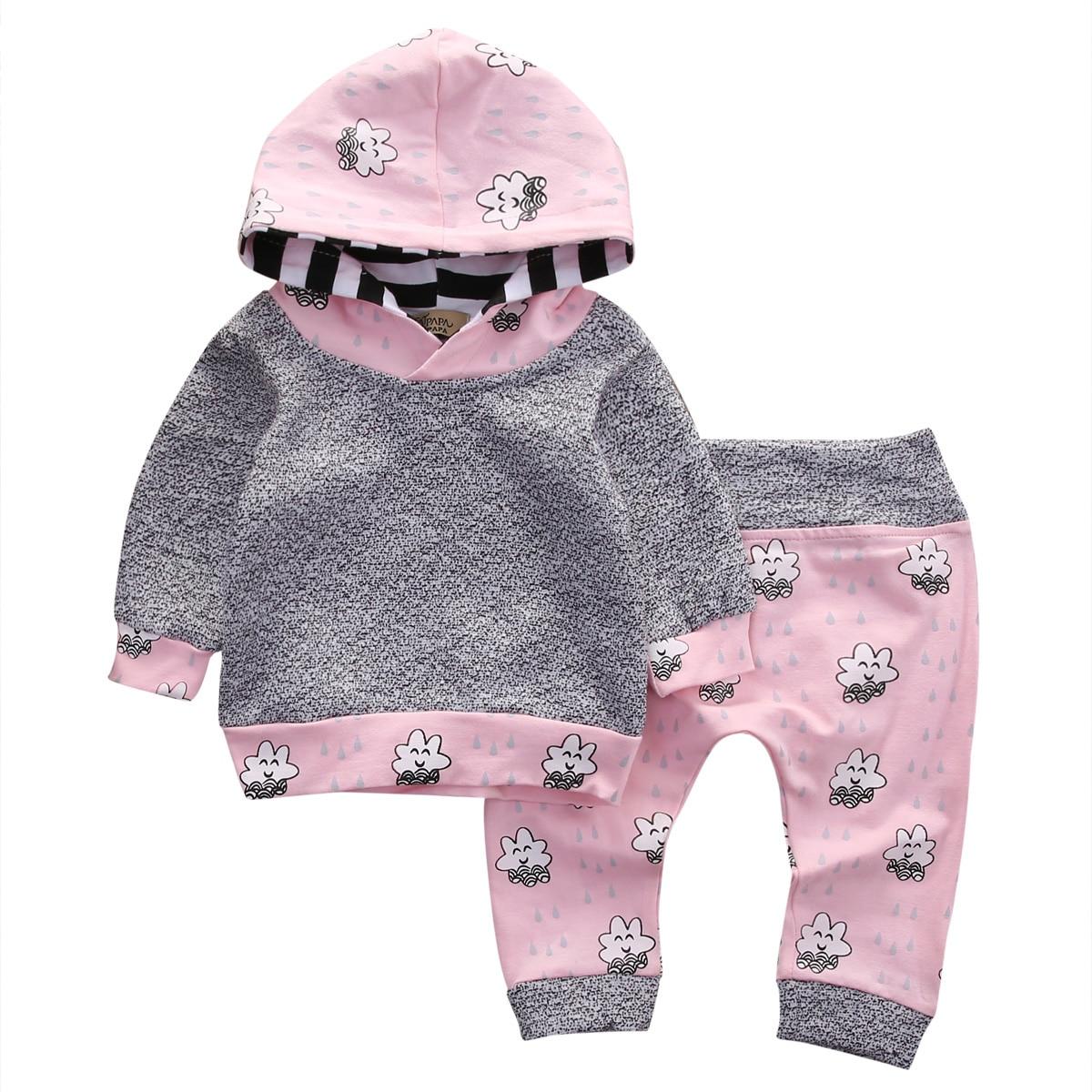Pink Newborn Baby Girl Clothes Cute Smile Cloud Bebes Hooded Top Pant 2pcs Autumn Winter Suit Bebek Giyim Clothing Set