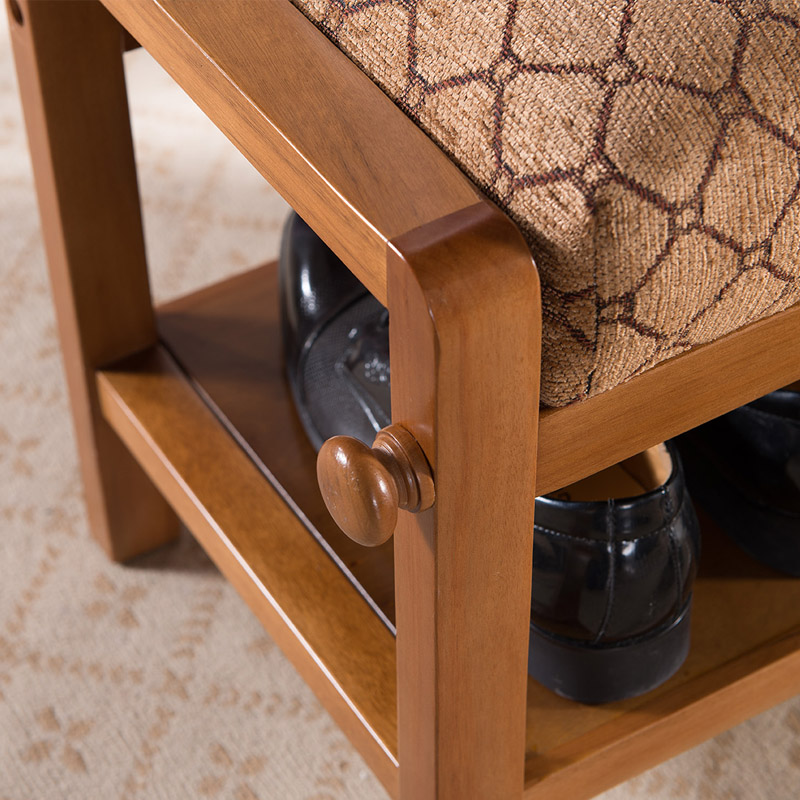 Newest european style solid wood shoe stool cabinet retro fabric ...