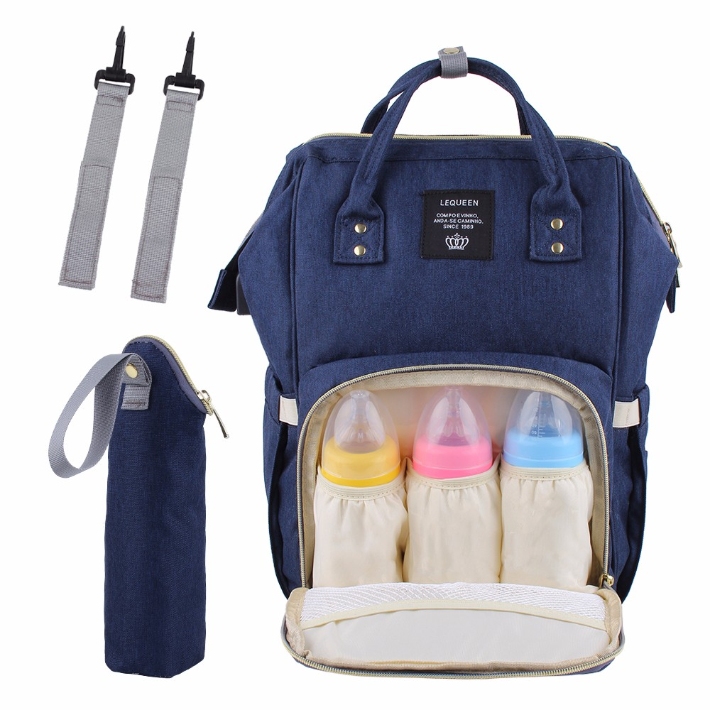 USB Chargeable Mummy Bag Large Diaper Bags Upgrade Lequeen Brand Design Fashion Nappy Backpack For Mom Waterproof Big Baby Bag