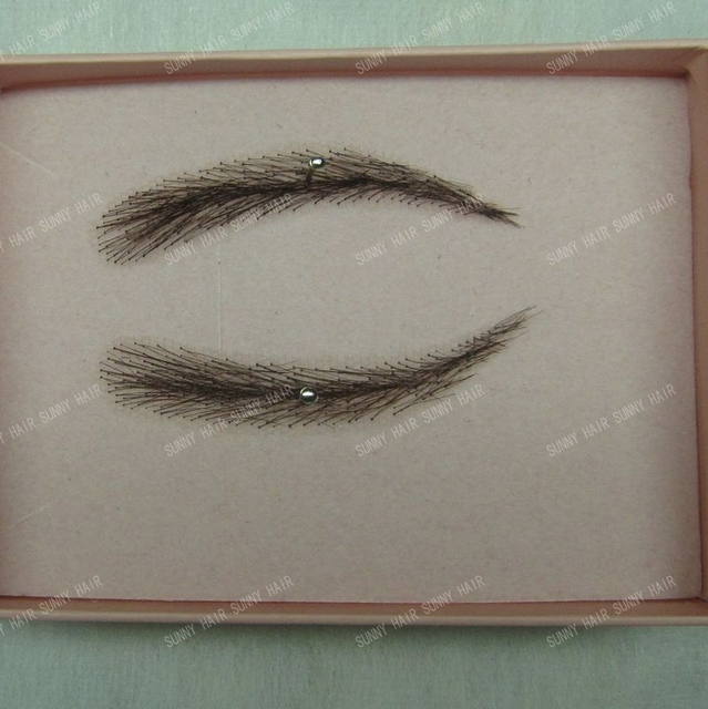 0112 handmade human hair man false eyebrows black color #1B hand knot fake eyebrow 2