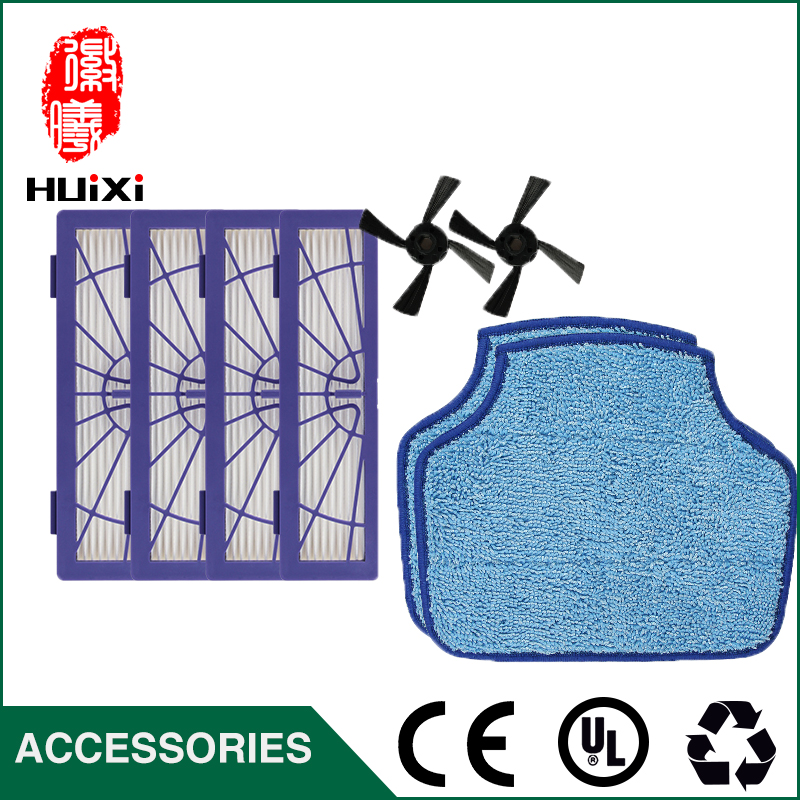 Robot Vacuum Cleaner Accessories 201*59m 4pcs HEPA Filter + 2pcs Mopping Cloth + 2pcs Side Brush for DT85 DT83 DM81