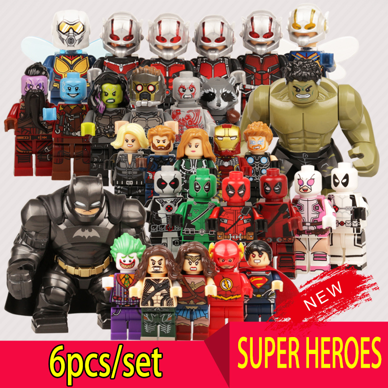 Super Heroes Action Figures Building Block Legoes Captain Marvel DC Avengers Hulk Iron Man Batman Aquaman Mini Toys For Kids dc marvel brickheadz cute doll superman batman iron man captain america hulk legoinglys model building block set kids brick toy