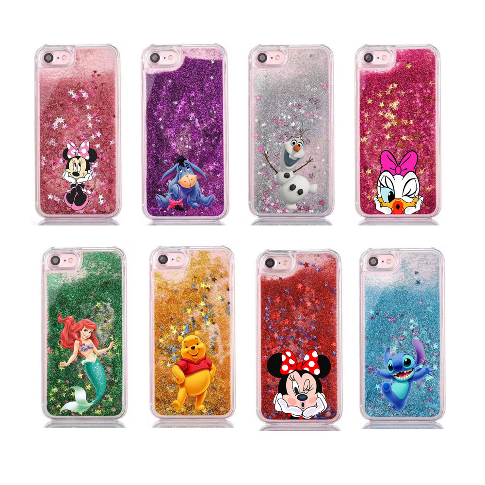 buy online b51eb b94d1 US $1.99 |Water Liquid Case for iPhone 8 7 6s Plus Cartoon Mermaid Mickey  Stitch Glitter Star phone case for iPhone X XS Max XR 5 5S SE-in Fitted ...