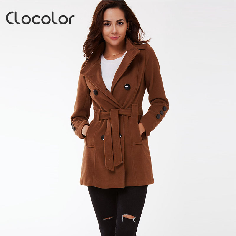 Clocolor Full Sleeve Autumn Winter Women Coat Jacket Female Turn Down Collar with Sashes Windbreaker Coat Slim Outerwear