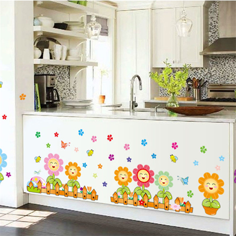 Fence Sunflower Plant Wall Stickers Home Decor Pastoral