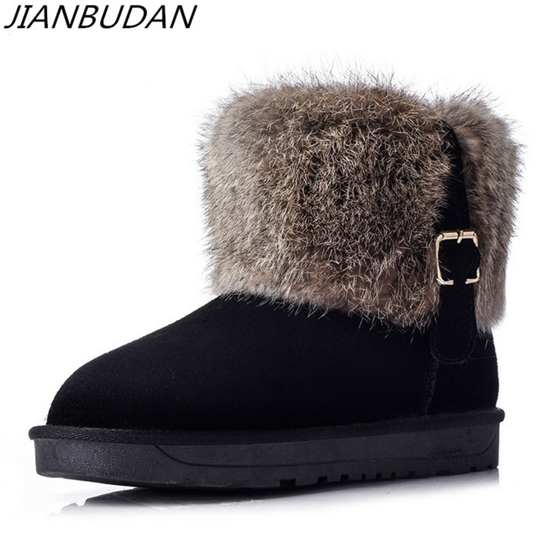 JIANBUDAN High quality leather winter warm snow boots women s style Leather  warmth Rabbit hair boots Non de1f951c4bf0