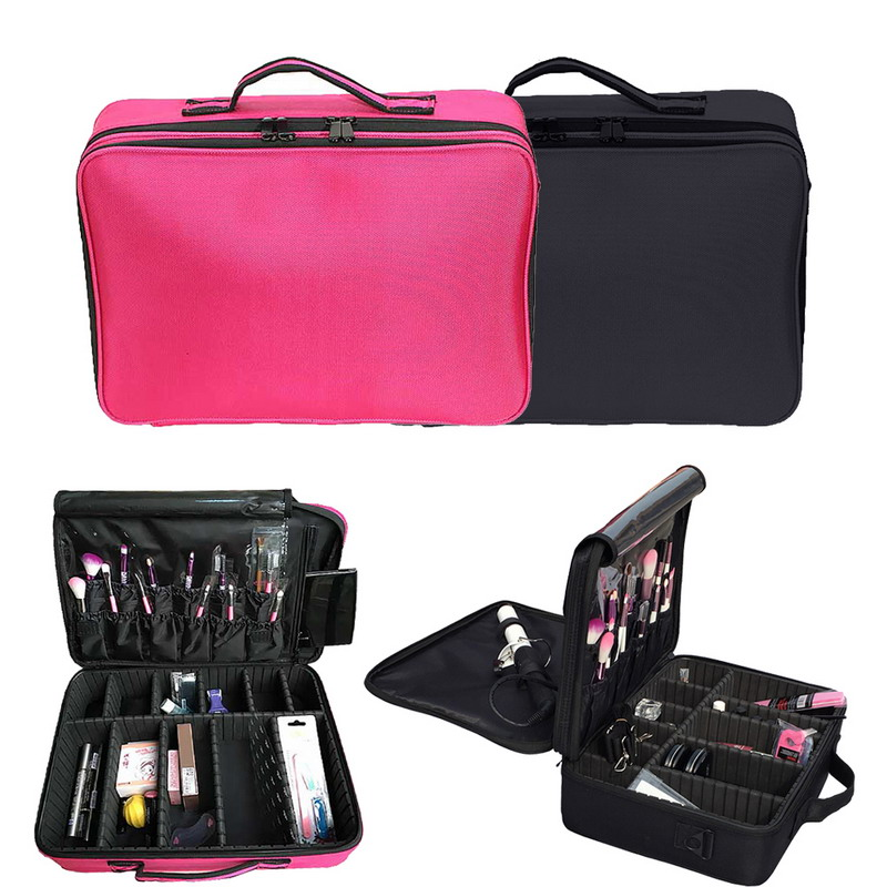 ФОТО  Professional Large Cosmetic Case Cosmetic Case Makeup Artist Dedicated storage Rose Red