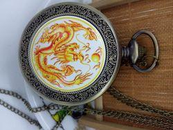 Новые горячие продажи бронзовые серебряные большие размеры китайские карманные часы с драконом ожерелье кулон для женщин и мужчин лучший п...