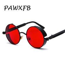 PAWXFB High quality Round Steampunk Sunglasses Women Men Coating Mirror Spring legs Sun glasses Vintage Red lentes de sol Shades