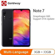 Orijinal Xiaomi Redmi Not 7 3 GB 32 GB SmartPhone Snapdragon 660 Octa Çekirdek 48MP Çift AI Kameralar 6.3