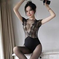 Lace Bodysuit Sexy Mesh See Through Sleepwear Women Nightdress Lingerie Temptation Nightgown Rompers Open Crotch Underwear Black